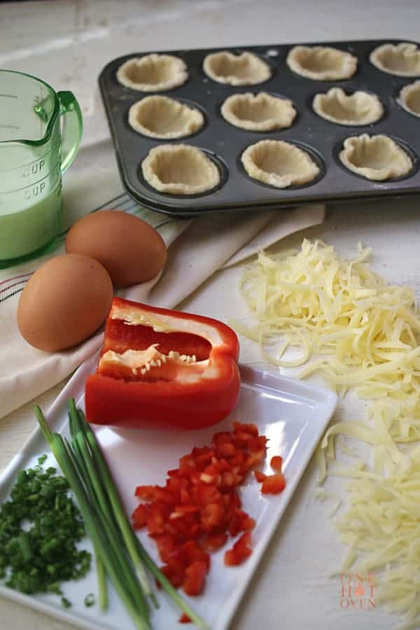 Swiss cheese, peppers, chives and eggs.
