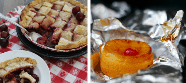 Grilled cherry pandowdy and grilled pineapple shortcake