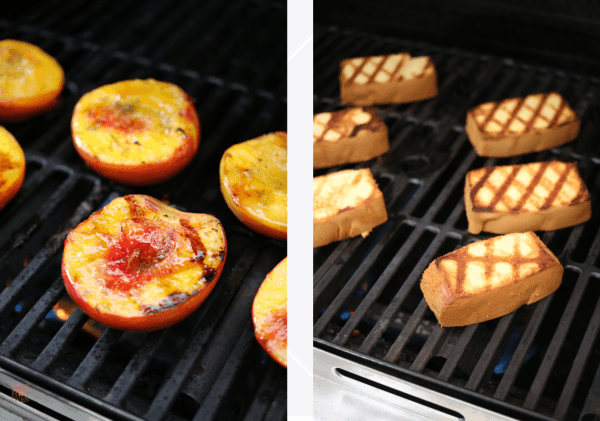 Grilling peaches and pound cake