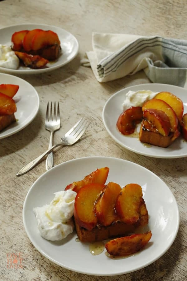 Honey lime grilled peaches and pound cake desserts
