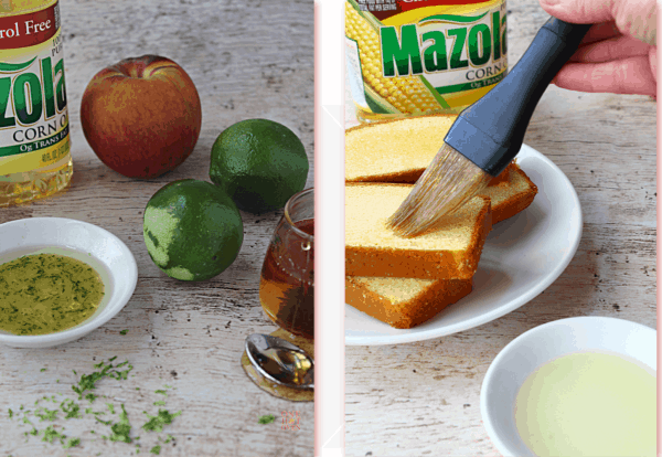 marinade ingredients and brushing pound cake with oil for grilling