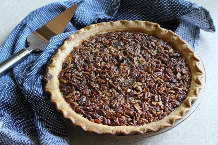 A picture of a whole baked Bourbon Pecan Pie