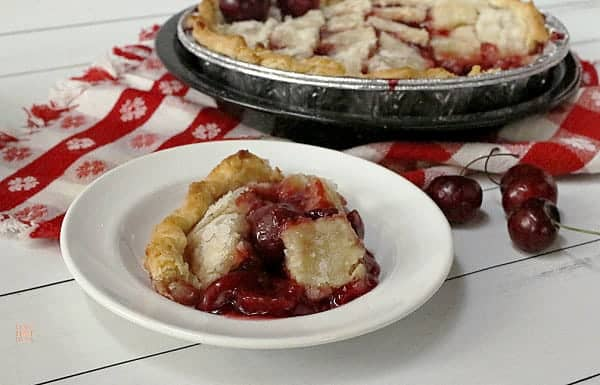 Cherry pandowdy dessert on a white plate