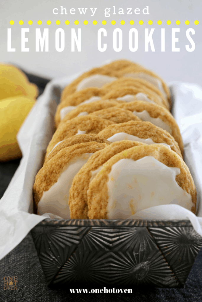 Lemon cookies in a sitting in a bread pan