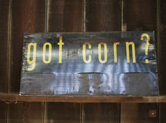 "This sign says ""got corn"" from the Davis Ranch in Sloughhouse, CA"