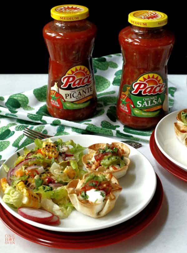 Mini Chicken Taco Cups with jars of Pace Salsa