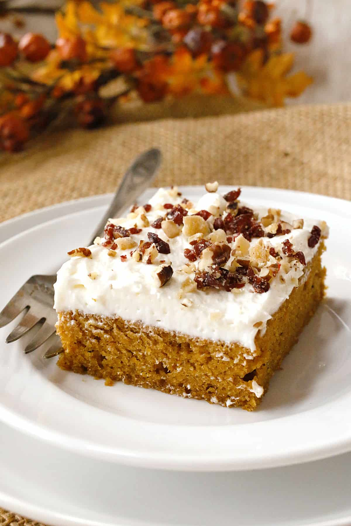 pumpkin sheet cake on a plate