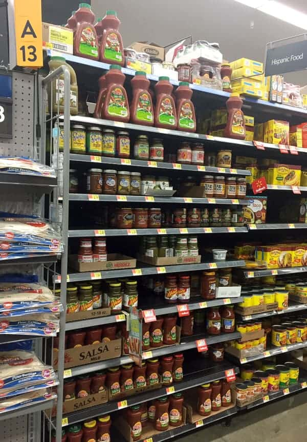 Showing the Pace Salsa on the shelves at Walmart