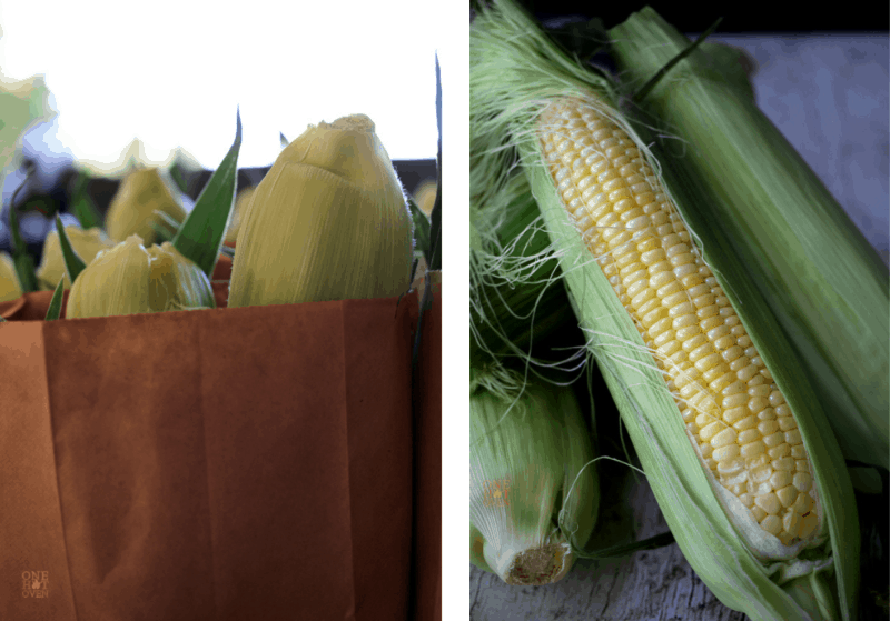 A bag of corn and a shucked ear of corn