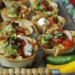 A tray of baked Mini Chicken Taco Cups