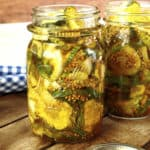 bread and butter pickles in canning jars.