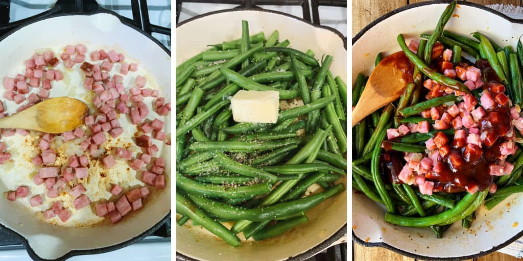 Three pictures showing cooking ham and green beans in a skillet.