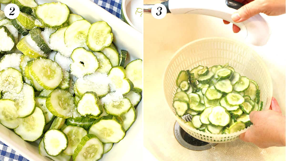 Salting and rinsing cucumber for pickles.