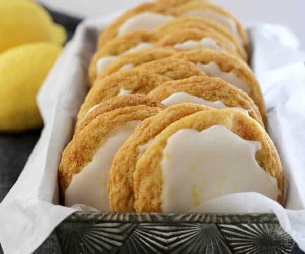 A pan of Chewy Lemon Cookies with Lemon Icing