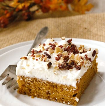 a slice of pumpkin sheet cake