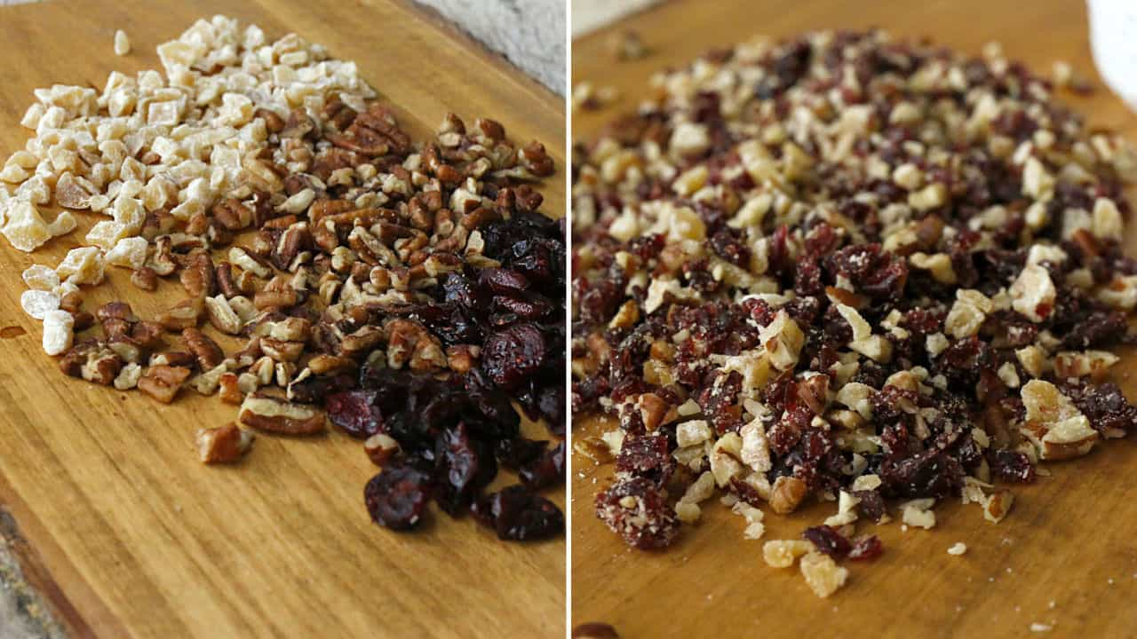 pecans, cranberries and ginger