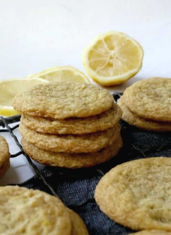Stack of chewy lemon cookies
