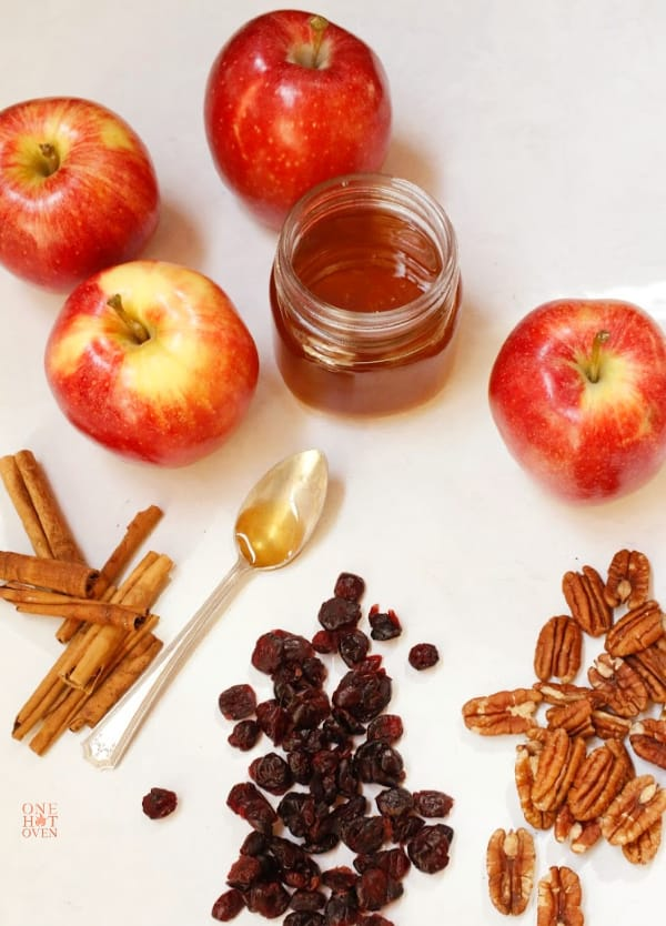 Apples, cinnamon, honey, pecans and cranberries