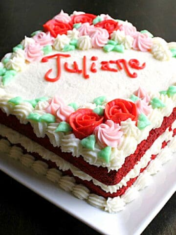 A decorated Red velvet cake.