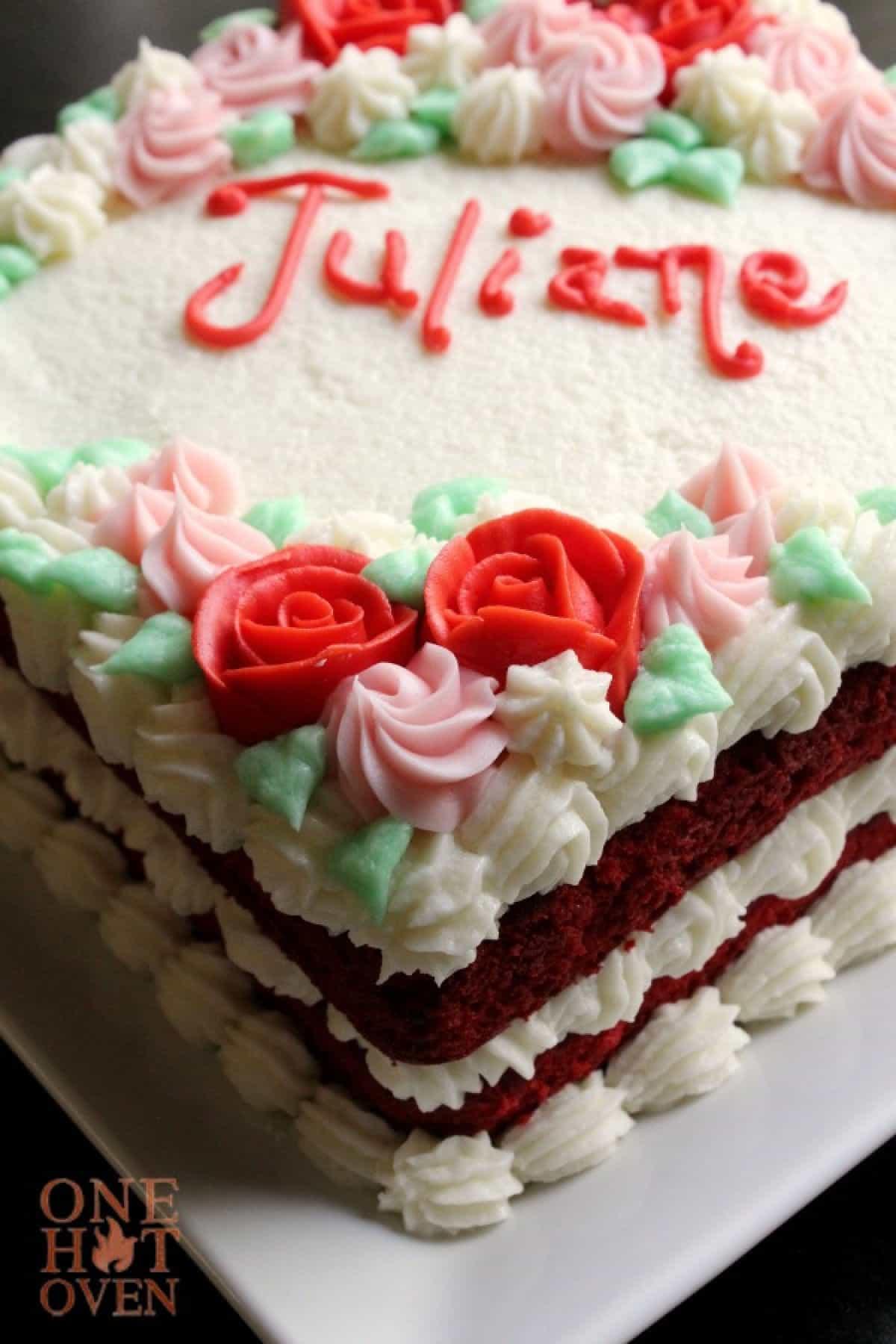 A red velvet birthday cake for Juliane..