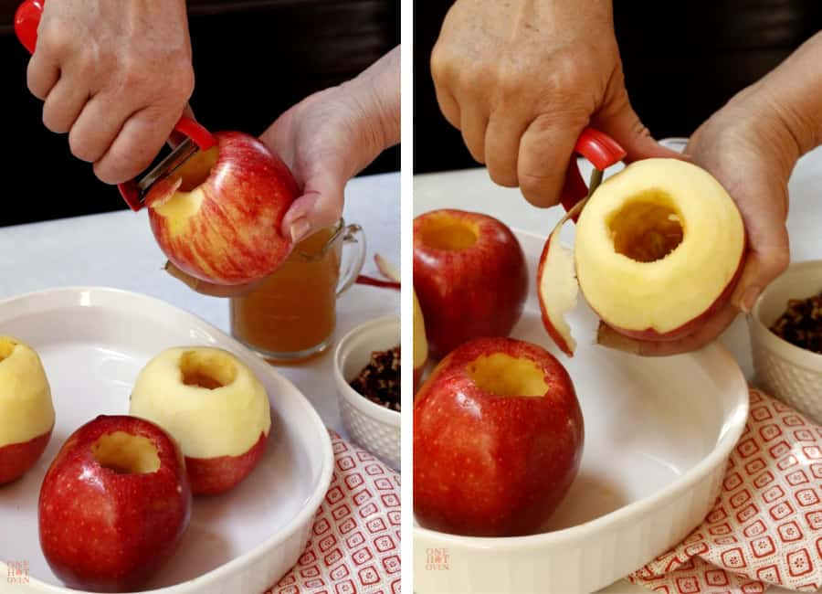 Peeling cored apples for baked apples