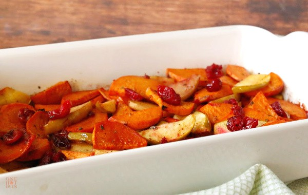 Roasted Sweet Potatoes and Apples and Cranberries