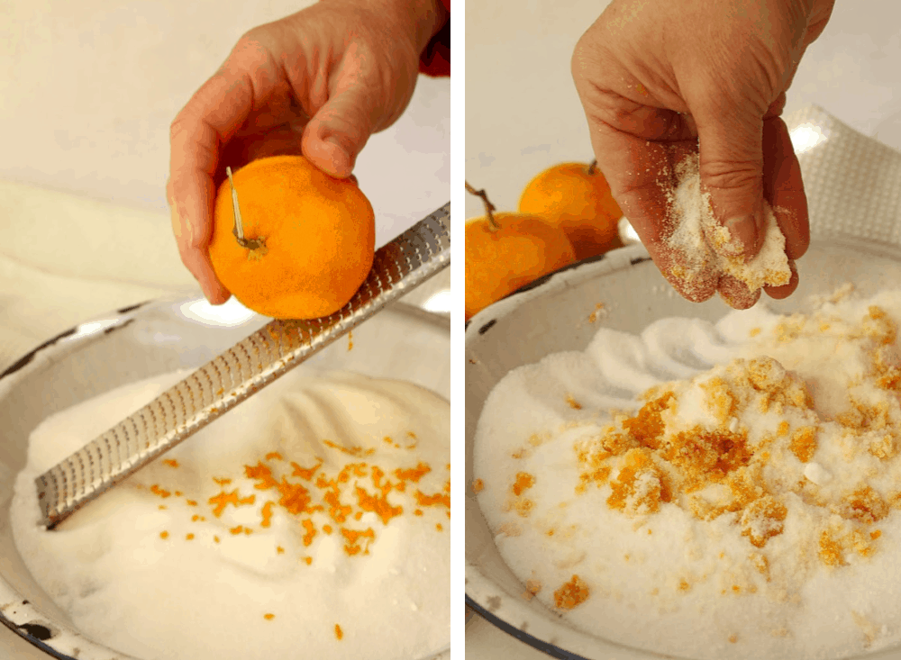 Zesting a mandarin and mixing in sugar