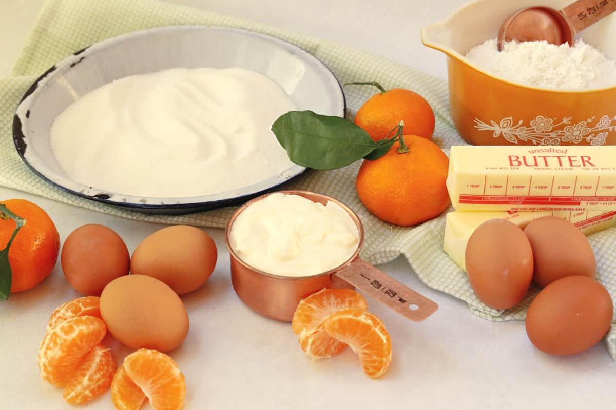Cake ingredients.