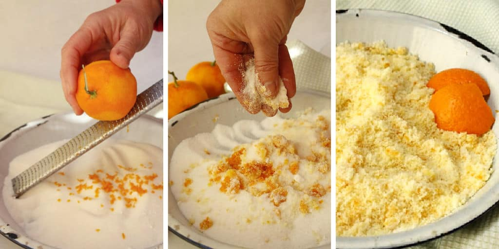 Zesting mandarin oranges.