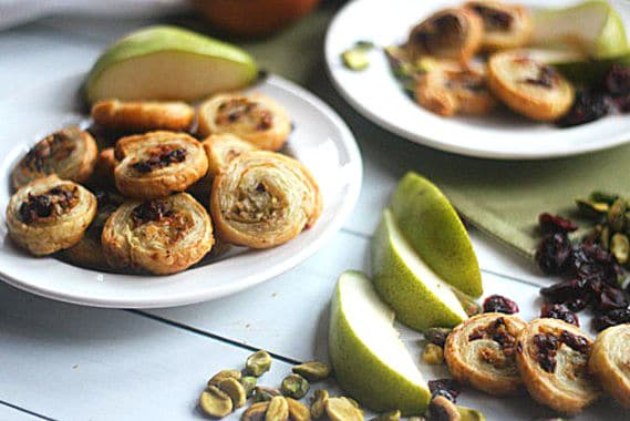 pear and asagio cheese pinwheel appetizers