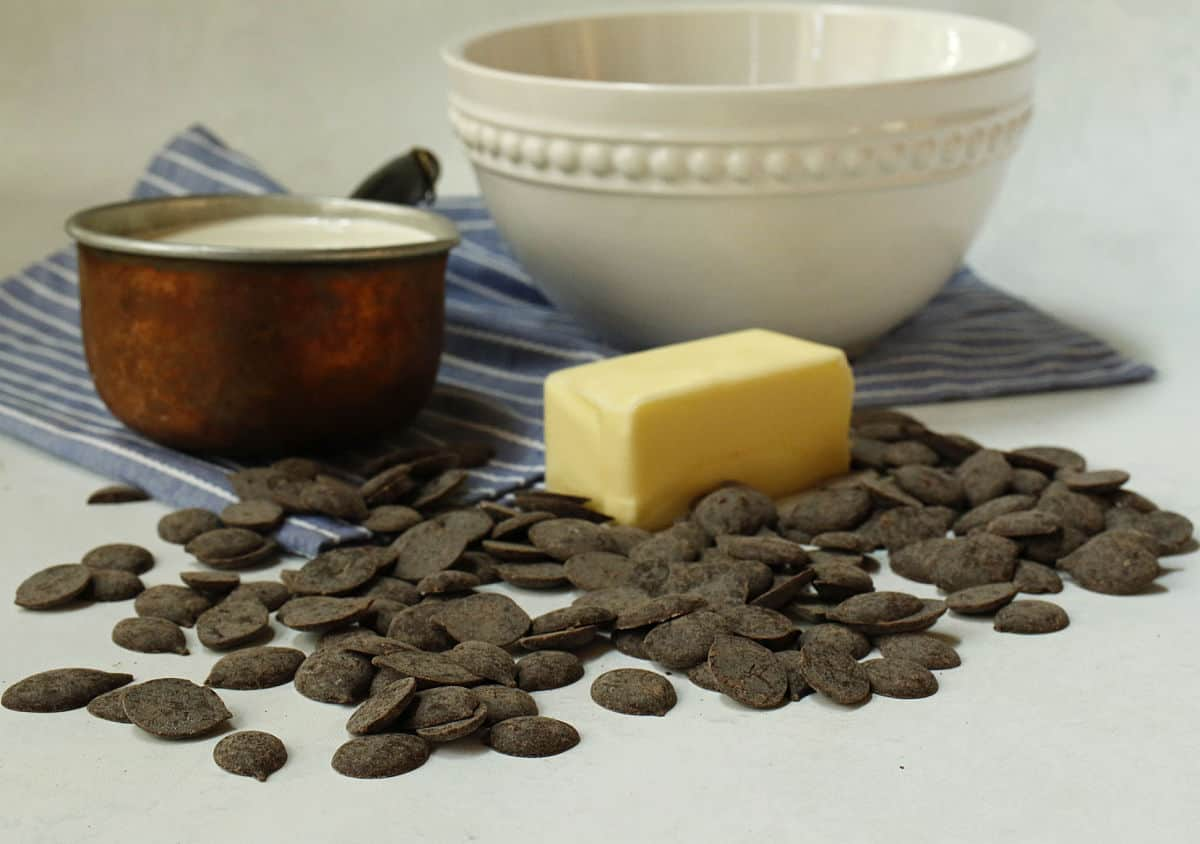 chocolate, butter and cream for ganache