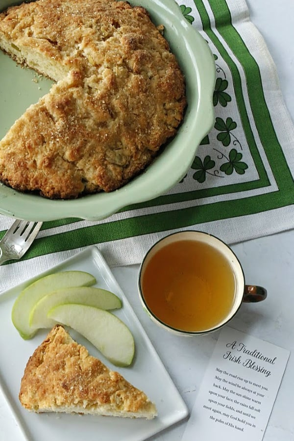 having tea with scones and apples