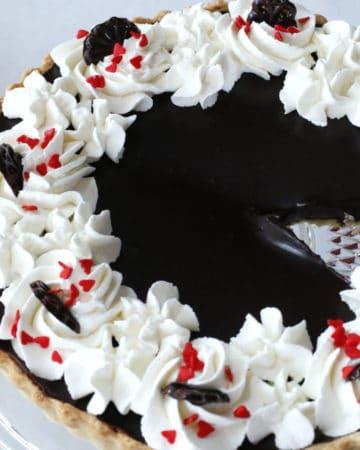 dark chocolate tart with candy hearts