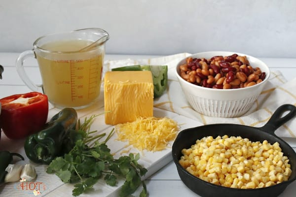 Ingredients to make Creamy Corn and Bean Soup