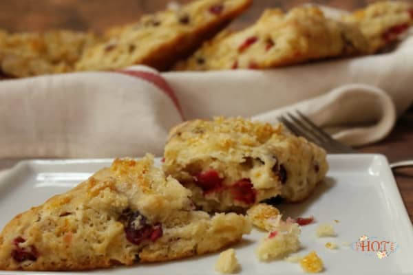 Orange Cranberry Scones on a plate