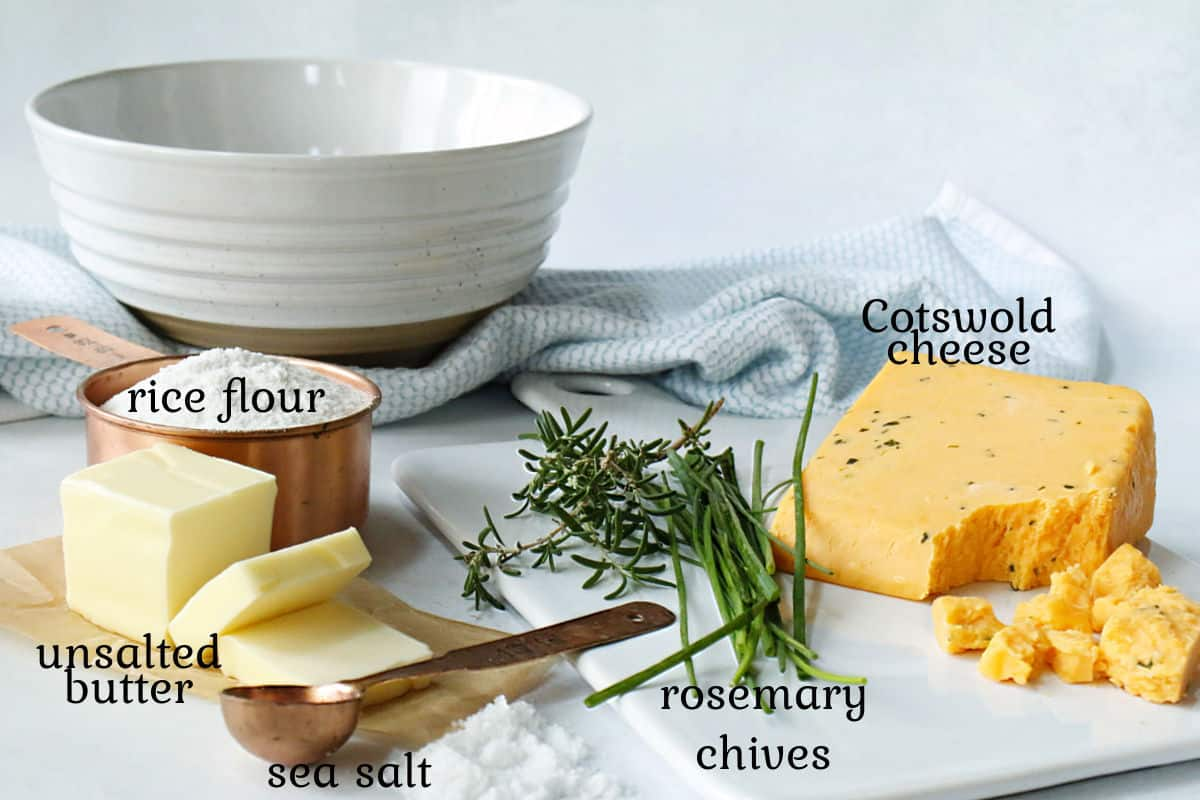 cheese, butter, flour, herbs to make crackers.