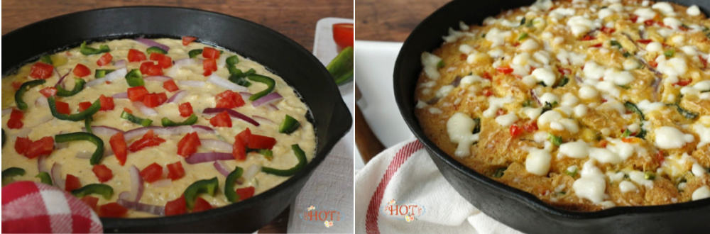 baking a pan of veggie topped cornbread
