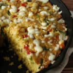 Cheesy skillet cornbread with veggies