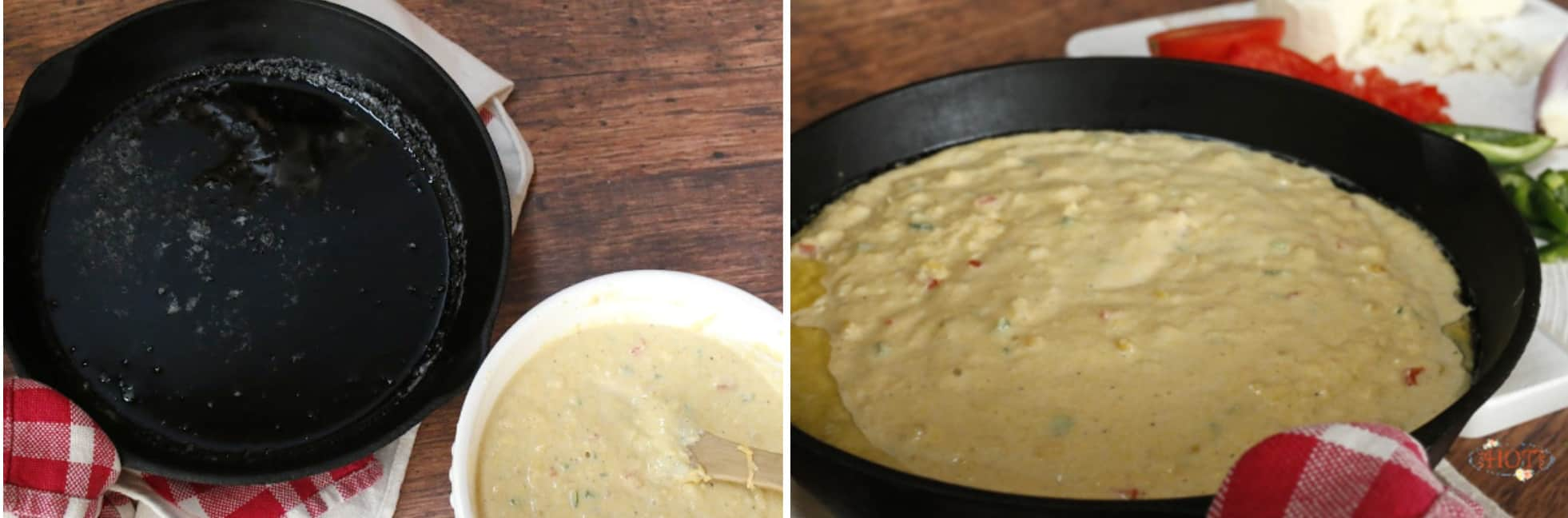 melted butter in an iron skillet with the cornbread batter