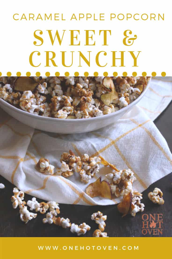 A bowl of caramel popcorn on a white and yellow napkin.