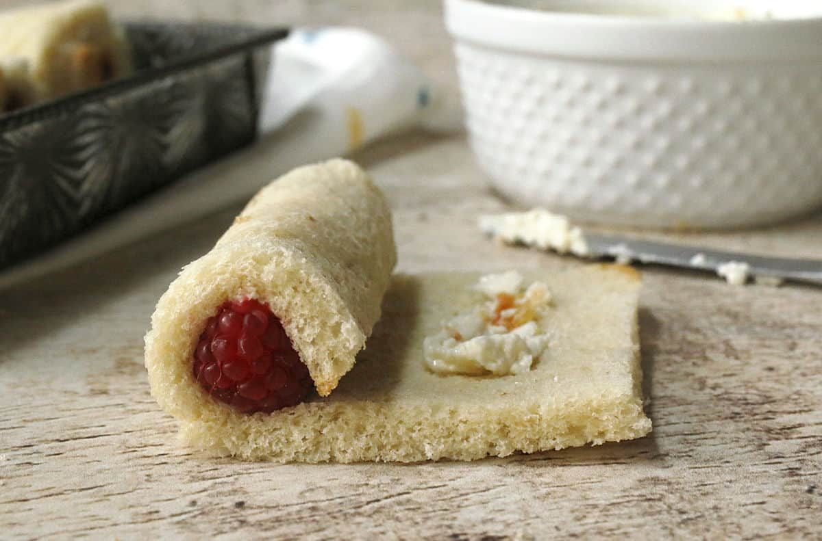 raspberry rolled inside of bread with cream cheese