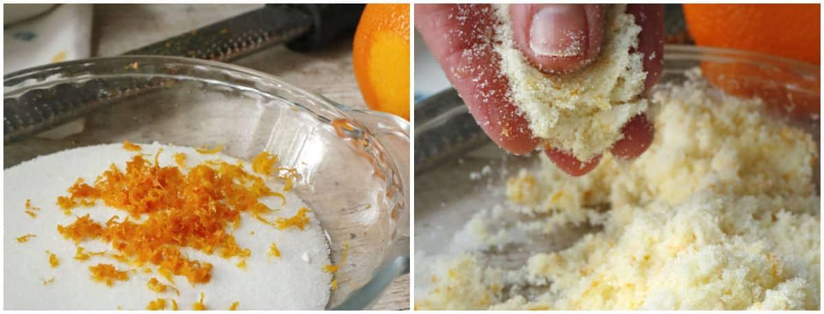 adding orange zest to sugar
