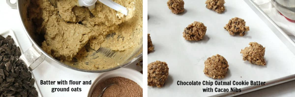 mixing cookie batter and cookies on baking sheet