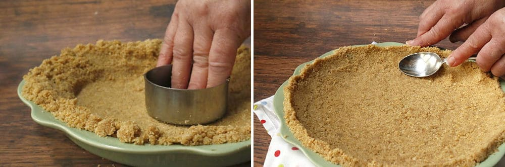 pressing graham cracker crumbs into pie plate