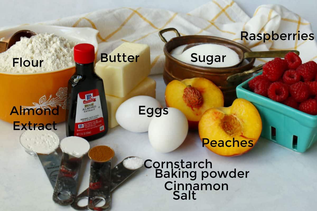 flour,butter,eggs,sugar,spices,peaches,raspberries for cookes.,