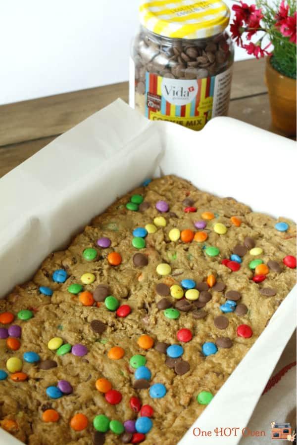 chocolate chip bar cookies in pan