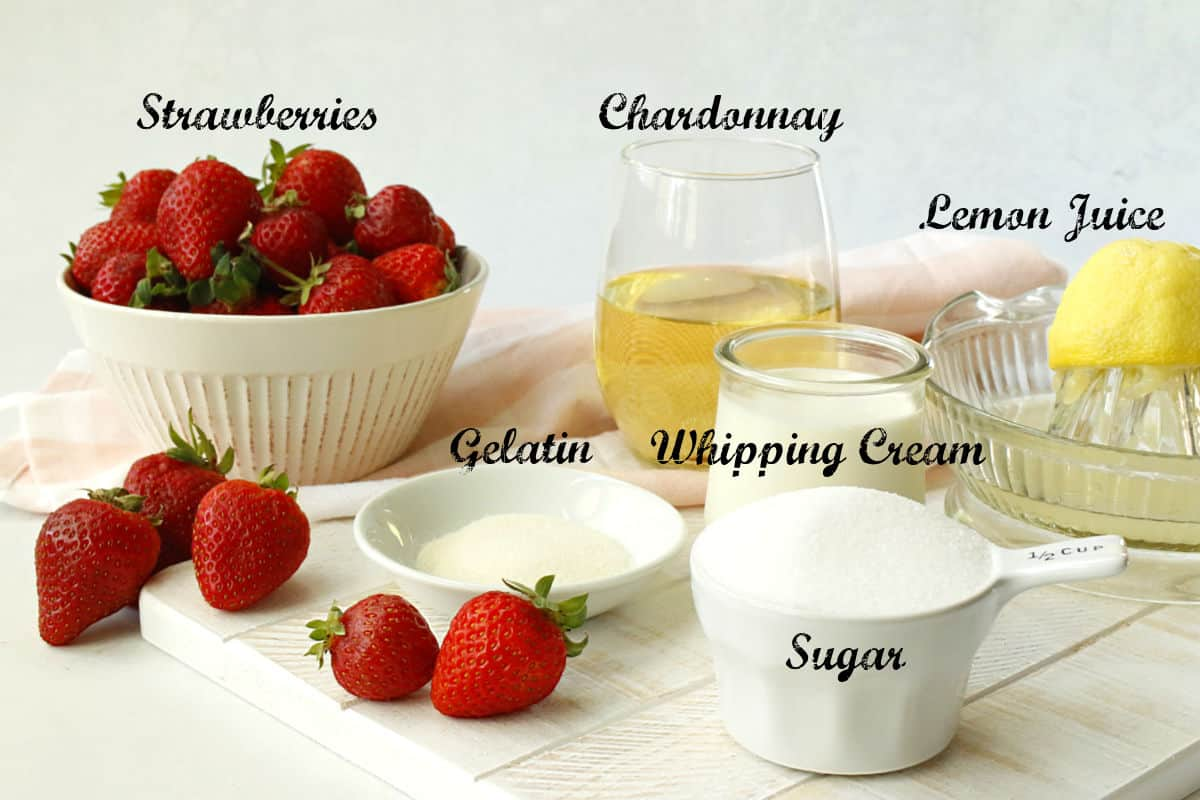 Ingredients for strawberry gelee.