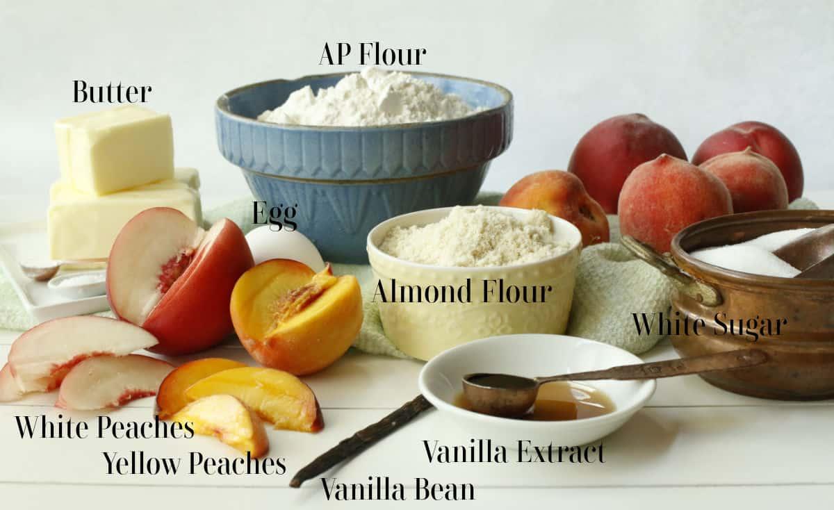 Peaches, flour, egg, sugar, vanilla for a tart.