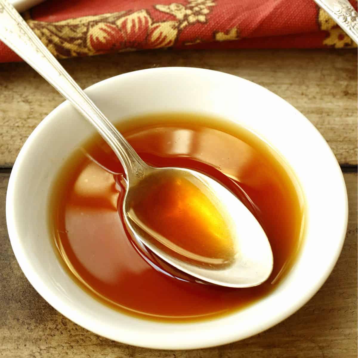 bowl of vanilla extract