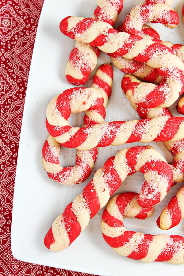 Candy Cane Cookies on a white plater.